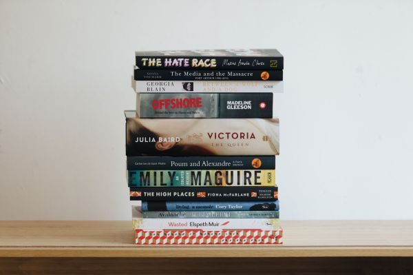 The 2017 Stella Prize Longlist books in a stack